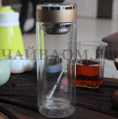 бутылка походная дорожная заварник чайник типот чай термос двойное стекло 330мл